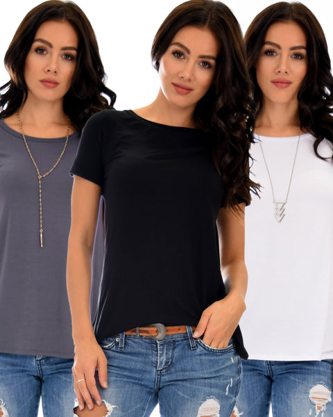 3 Pack The New Classic Cuffed Sleeve Tunic Top