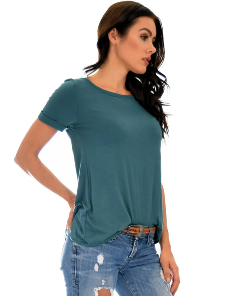 The New Classic Cuffed Sleeve Teal Tunic Top