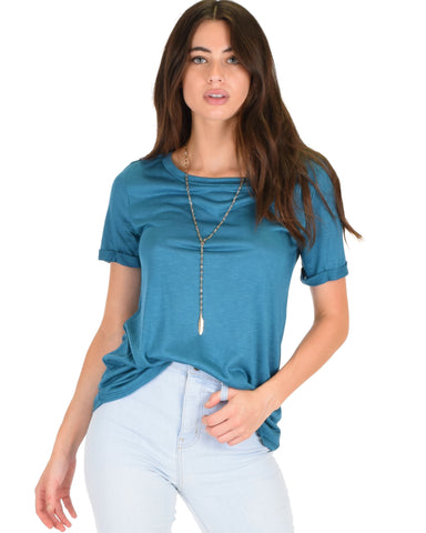 The New Classic Cuffed Sleeve Teal Slub Tunic Top