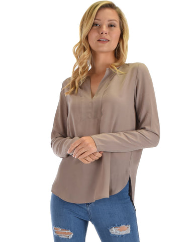 Lyss Loo Kimberly Taupe Woven Long Sleeve Blouse