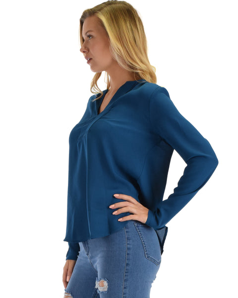 Lyss Loo Kimberly Teal Woven Long Sleeve Blouse