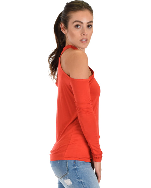 Shy Sweetheart Long Sleeve Rust Cold Shoulder Top