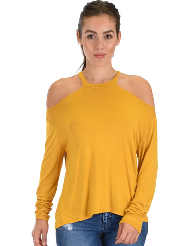 Filled With Smiles Long Sleeve Mustard Cold Shoulder Top