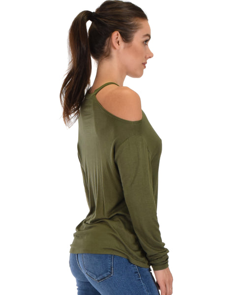 Filled With Smiles Long Sleeve Olive Cold Shoulder Top