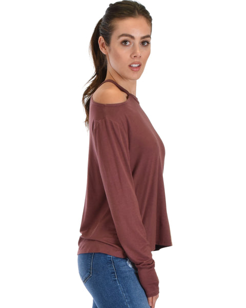 Filled With Smiles Long Sleeve Marsala Cold Shoulder Top