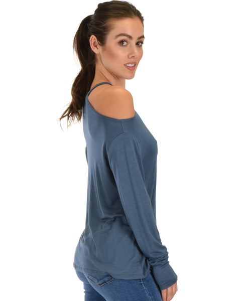 Filled With Smiles Long Sleeve Teal Cold Shoulder Top