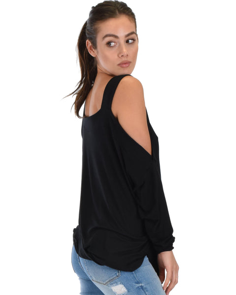 Little Wonder Cold Shoulder Draped Top