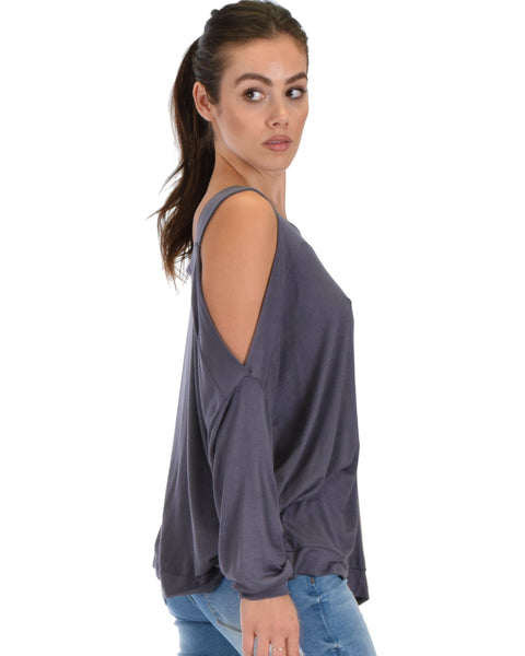Lyss Loo Little Wonder Cold Shoulder Draped Charcoal Top
