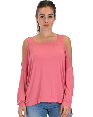 Lyss Loo Little Wonder Cold Shoulder Draped Pink Top