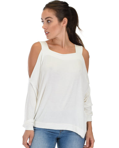 Lyss Loo Little Wonder Cold Shoulder Draped Ivory Top