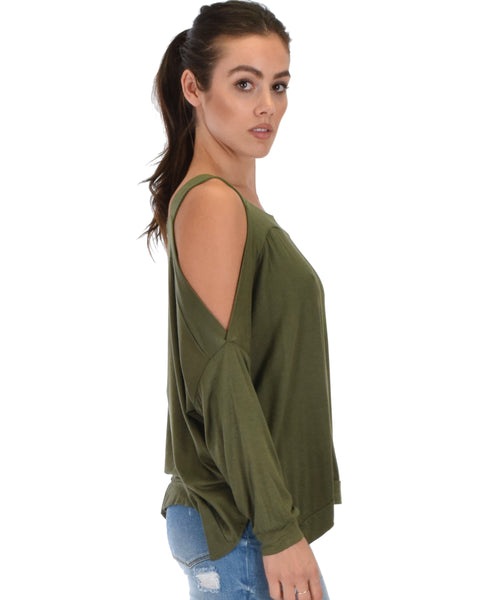 Lyss Loo Little Wonder Cold Shoulder Draped Olive Top