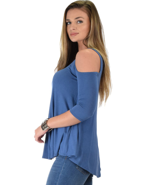 In Good Company Cold Shoulder Blue 3/4 Sleeve Top