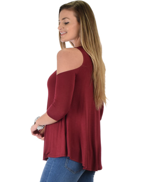 In Good Company Cold Shoulder Burgundy 3/4 Sleeve Top