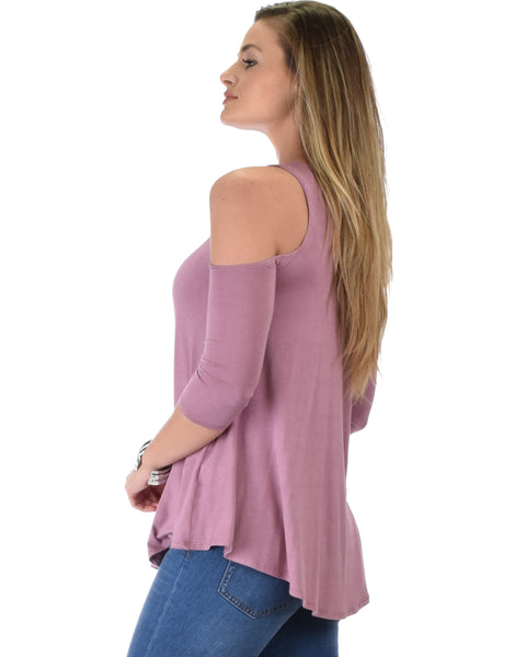 In Good Company Cold Shoulder Mauve 3/4 Sleeve Top