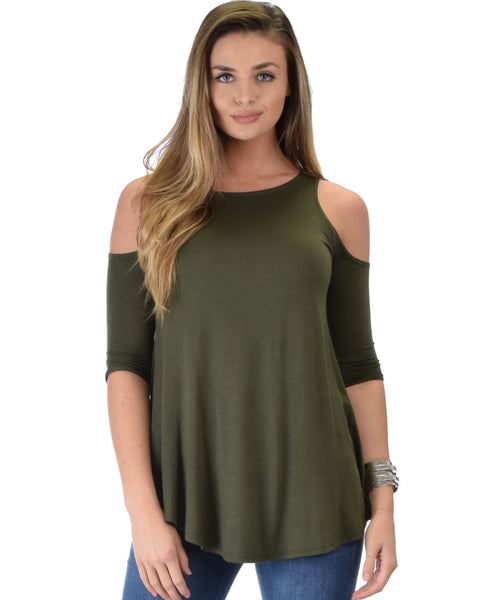 In Good Company Cold Shoulder Olive 3/4 Sleeve Top