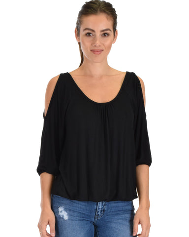 I Feel Good Cold Shoulder Black Cinched Top