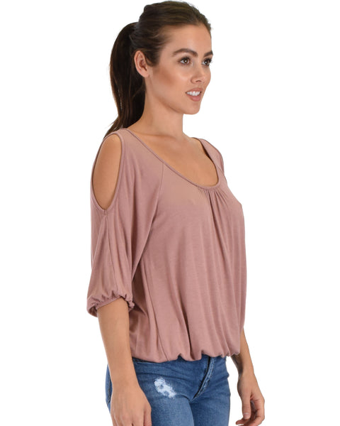 I Feel Good Cold Shoulder Mauve Cinched Top