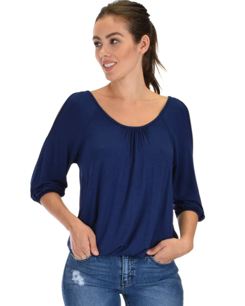 I Feel Good Cold Shoulder Navy Cinched Top