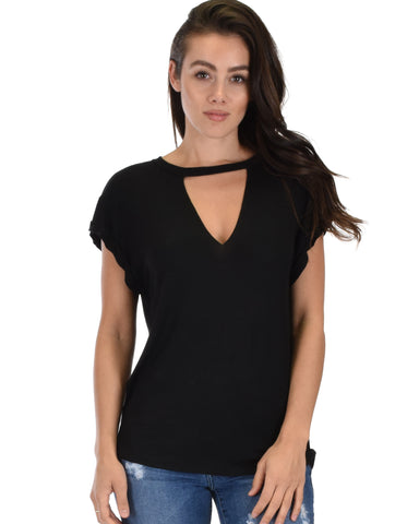 Unfiltered Raw Edge V Cuffed Sleeve Black Tunic Top