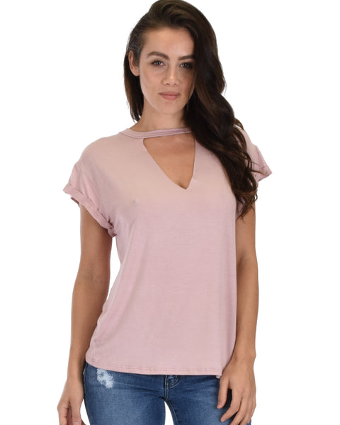 Unfiltered Raw Edge V Cuffed Sleeve Mauve Tunic Top