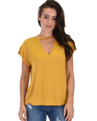 Unfiltered Raw Edge V Cuffed Sleeve Mustard Tunic Top