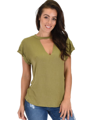 Unfiltered Raw Edge V Cuffed Sleeve Olive Tunic Top