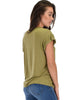Unfiltered Raw Edge V Cuffed Sleeve Olive Tunic Top - Side Image