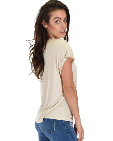 Unfiltered Raw Edge V Cuffed Sleeve Taupe Tunic Top