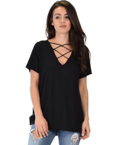 Ever Amazed Front Cross Straps Black Tunic Top