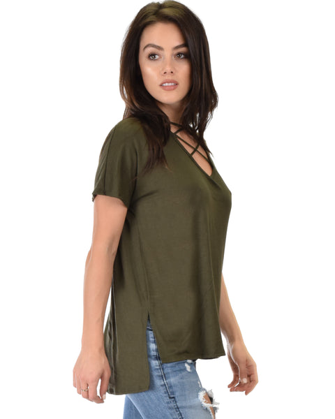Ever Amazed Front Cross Straps Olive Tunic Top