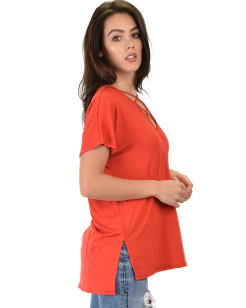Ever Amazed Front Cross Straps Rust Tunic Top