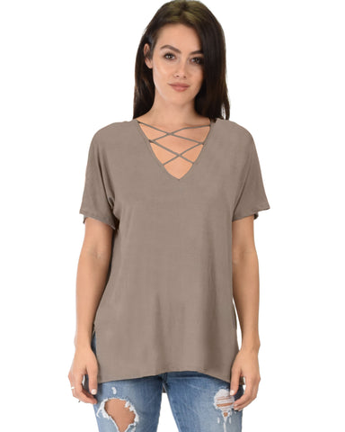 Ever Amazed Front Cross Straps Taupe Tunic Top