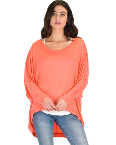 Light Weight Camille Spring Coral Sweater Top