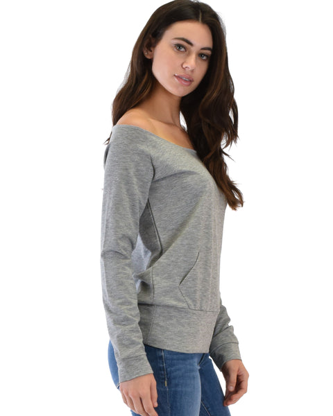 Dreamy Dancer Wide Neck Grey Sweatshirt Top