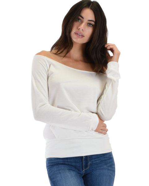 Dreamy Dancer Wide Neck Ivory Sweatshirt Top