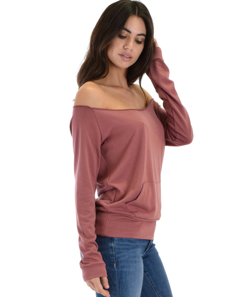 Dreamy Dancer Wide Neck Marsala Sweatshirt Top