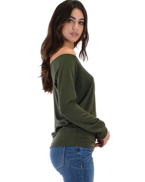 Dreamy Dancer Wide Neck Olive Sweatshirt Top