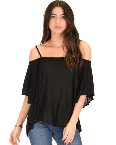 Sway Me Off The Shoulder Black Strappy Top