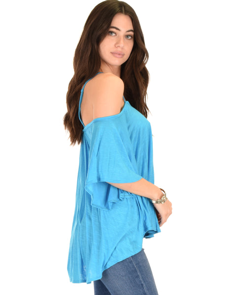 Sway Me Off The Shoulder Blue Strappy Top