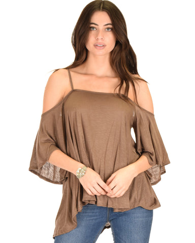 Sway Me Off The Shoulder Brown Strappy Top
