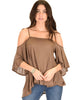 Sway Me Off The Shoulder Brown Strappy Top - Main Image