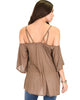 Sway Me Off The Shoulder Brown Strappy Top - Back Image
