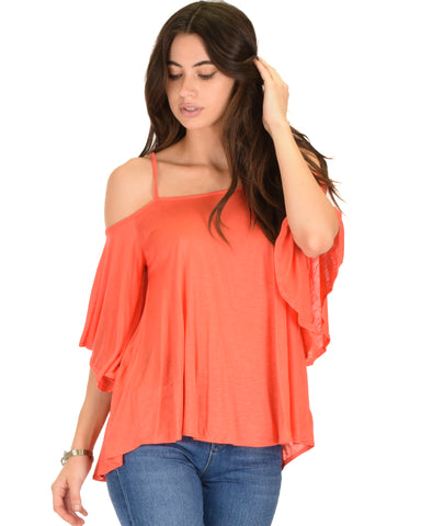 Sway Me Off The Shoulder Coral Strappy Top