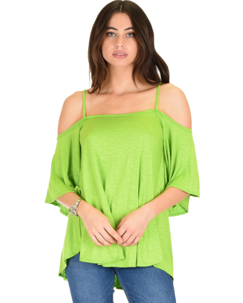 Sway Me Off The Shoulder Green Strappy Top