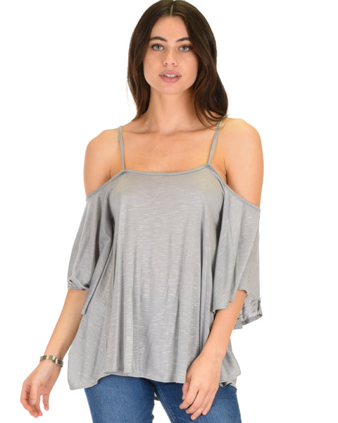 Sway Me Off The Shoulder Grey Strappy Top
