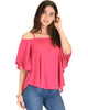 Sway Me Off The Shoulder Fuschia Strappy Top - Main Image