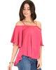 Sway Me Off The Shoulder Fuschia Strappy Top - Side Image