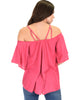 Sway Me Off The Shoulder Fuschia Strappy Top - Back Image