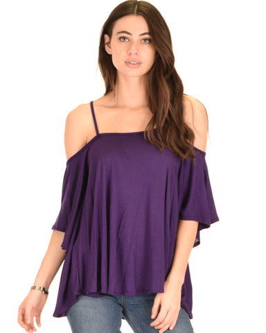 Sway Me Off The Shoulder Purple Strappy Top