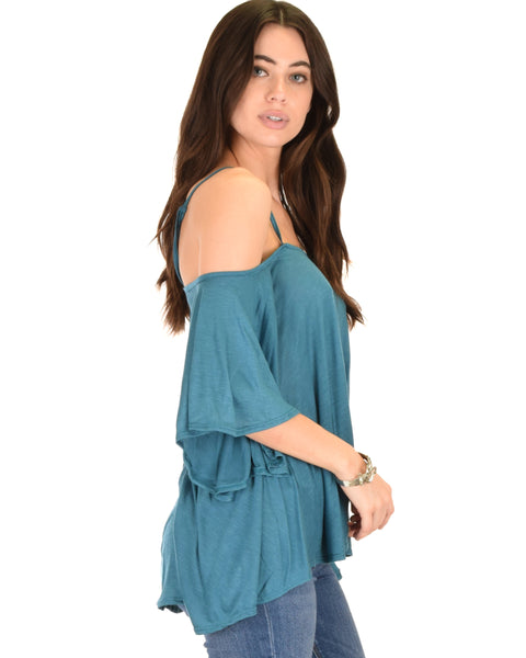 Sway Me Off The Shoulder Teal Strappy Top